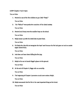 Lord of the Flies Chapters 4-5 Quiz