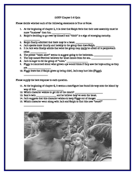 Lord of the Flies Chapters 5-6 Quiz