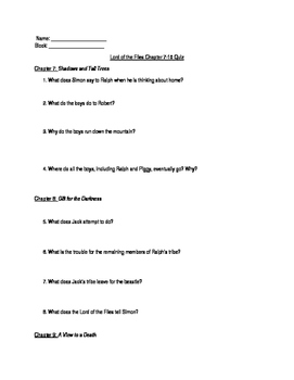 Lord of the Flies Chapters 7-10 Quiz