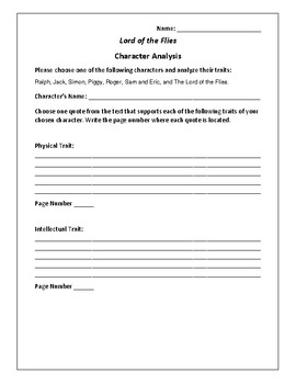 Lord of the Flies - Character Analysis Activity - William Golding