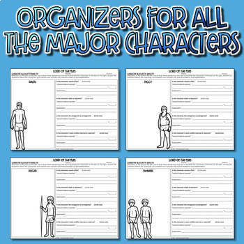 lord of the flies character analysis graphic organizers tpt lord of the flies character analysis graphic organizers