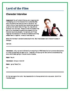 Lord of the Flies - Character Interview writing assignment