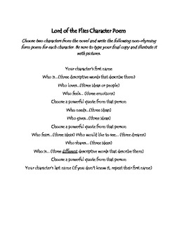 Lord of the Flies- Character Poem