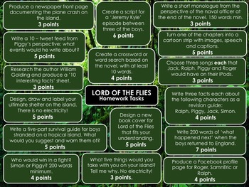 Lord of the Flies Choice Menu with 16 Engaging Activities!