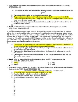 Lord of the Flies Common Core Practice Test