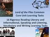 Lord of the Flies Common Core Unit Learning Tasks - 16 Rigorous Activities!!