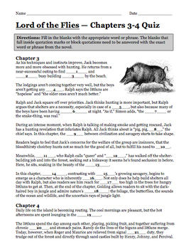 Lord of the Flies Complete Novel Quizzes (7 Quizzes) William Golding