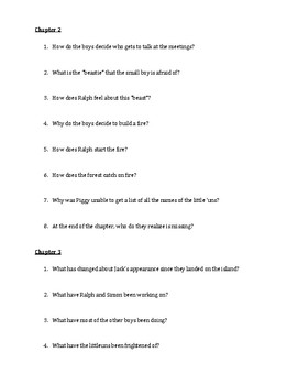 Lord of the Flies: Comprehension Questions