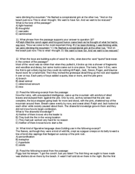 Lord of the Flies Comprehensive Test