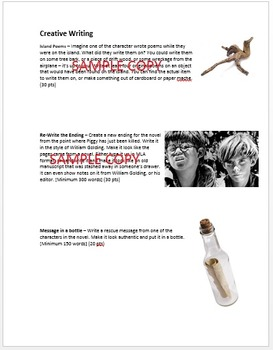 Lord of the Flies: Fun Creative Tasks / Portfolio / Scrapbook, and Essay