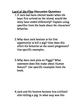 Lord of the Flies Discussion Questions