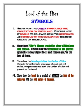 Lord Of The Flies Four Essay Prompts About Symbols In The Novel By  Lord Of The Flies Four Essay Prompts About Symbols In The Novel