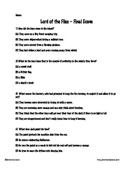 Lord of the Flies Final Exam Test