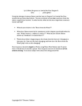 Lord of the Flies--Five Brief Constructed Response Prompts with Sample Response