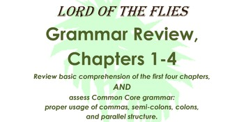 Lord of the Flies Review: Chapters 1-4, using Common Core Grammar