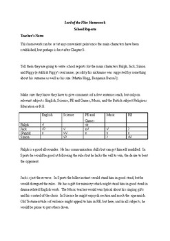 Lord of the Flies Homework - School Reports