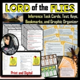 Inference - Lord of the Flies Task Cards, Test, Graphic Organizer, and Bookmarks