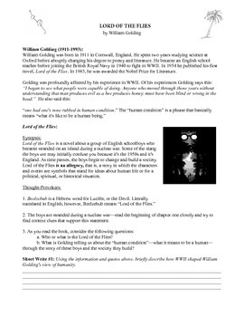 Lord of the Flies Intro Handout: Willam Golding Biography
