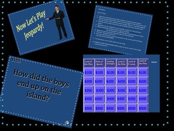 Lord of the Flies Jeopardy!  Fun!  7th, 8th, 9th, 10th, 11th, 12th, grade