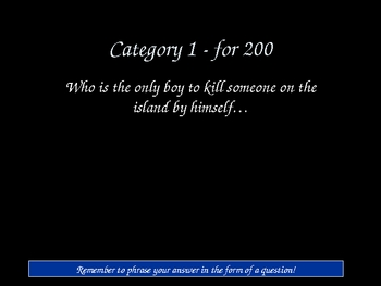 Lord of the Flies Jeopardy game!