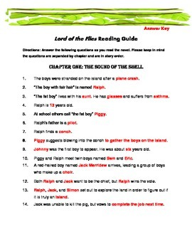 Lord of the Flies  Materials (Reading Guide, Chapter Quizzes, etc)