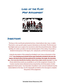 Lord of the Flies Map Activity and Creative Writing Assignment