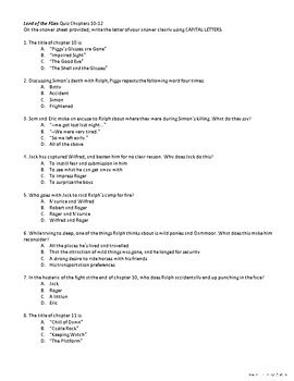Lord of the Flies Multiple Choice Quiz Chapters 10-12 w/ Answer Sheet & Key!