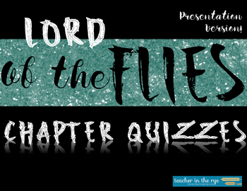 Lord of the Flies Non-Question Quizzes for Deep Thinking! {CCSS}