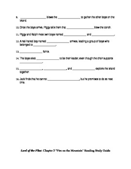 Lord of the Flies Novel Study Guides