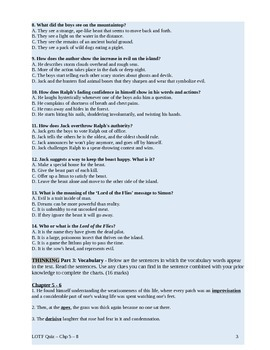 Lord of the Flies Novel Study Quiz Chapters 5 - 8 with answer key