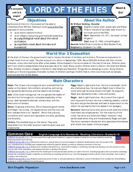 Lord of the Flies Novel Unit Graphic Organizer - newsletter format - Common Core