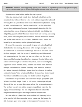 Lord of the Flies Passage Annotation: Simon
