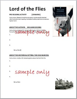 Lord of the Flies Pre-Reading Activity Web Quest