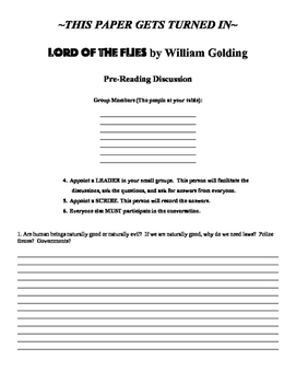 Lord of the Flies Pre-Reading Discussion