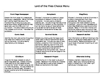 Lord of the Flies Project Choice Menu