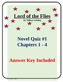 Lord of the Flies Novel Study Quiz Chapters 1 - 4 with Answer Key