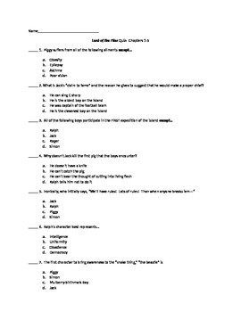 Lord of the Flies - Quiz on Chapters 1-5