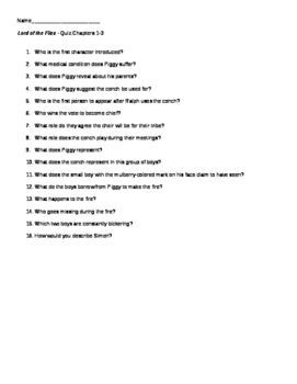 Lord of the Flies - Quizzes