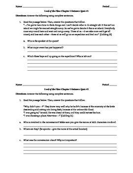 Lord of the Flies Reading Comprehension Check Quizzes and Answer Keys