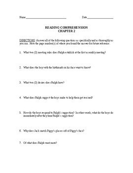 Lord of the Flies Reading Comprehension and Analysis Questions w/Answer Key