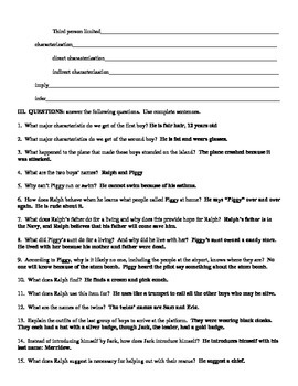 lord of the flies reading guide study guide answer key tpt rh teacherspayteachers com lord of the flies study guide 1-2 lord of the flies study guide pdf
