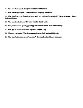 Lord of the Flies - Reading Guide / Study Guide - Answer Key