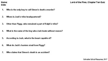 Lord of the Flies Quiz Bundle Volume Three: Chapters 9-12