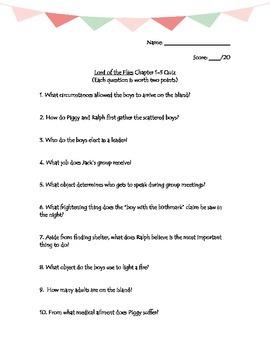 Lord of the Flies Reading Quiz Bundle w/ Answer Keys