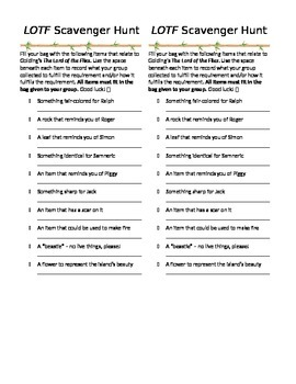 Lord of the Flies Scavenger Hunt