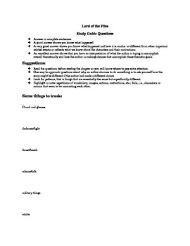 Lord of the Flies Study Guide with symbolic motifs and character map