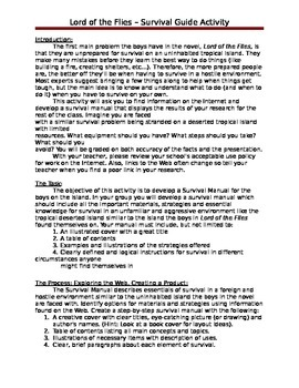 Lord of the Flies Survival Manual Activity