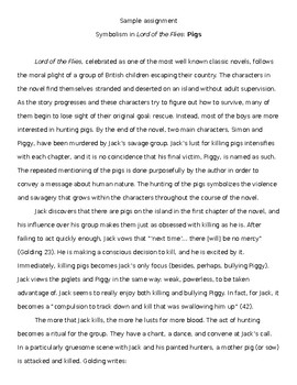 Lord of the Flies Symbolism Writing Assignment with Exemplar