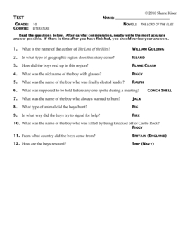 Lord of the Flies Test Answers