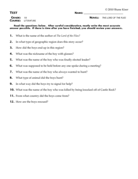 Lord of the Flies Test Questions